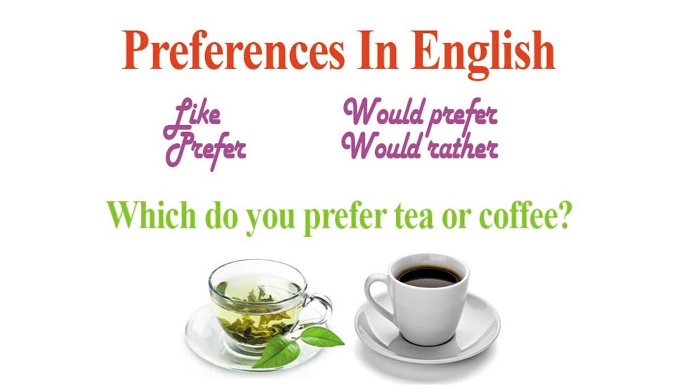 Preferences (prefer, would prefer, would rather and like)