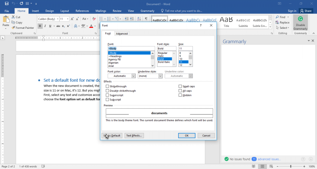 Set a default font for new documents