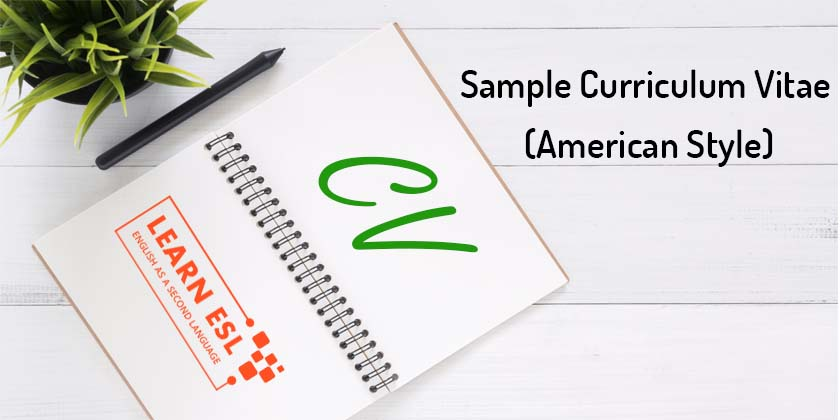 sample curriculum vitae  american style  - cv in english